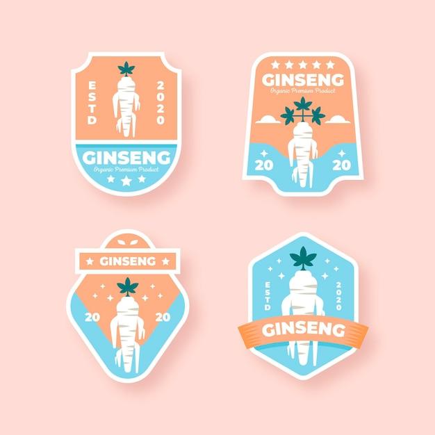 Conception De Collection D'étiquettes De Pot De Ginseng Vecteur gratuit