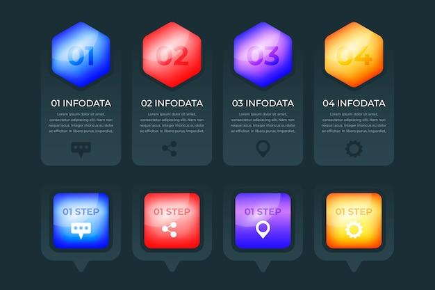 Conception De Collection Infographique Brillant 3d Vecteur gratuit