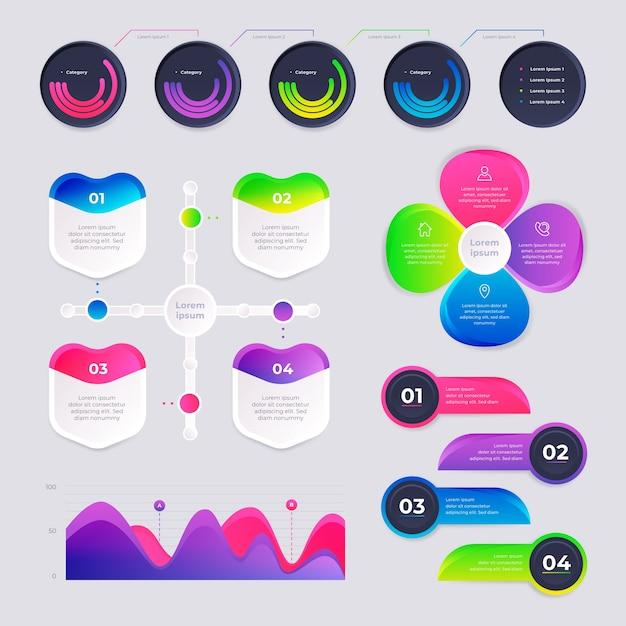 Conception De Collection Infographique Dégradé Vecteur gratuit
