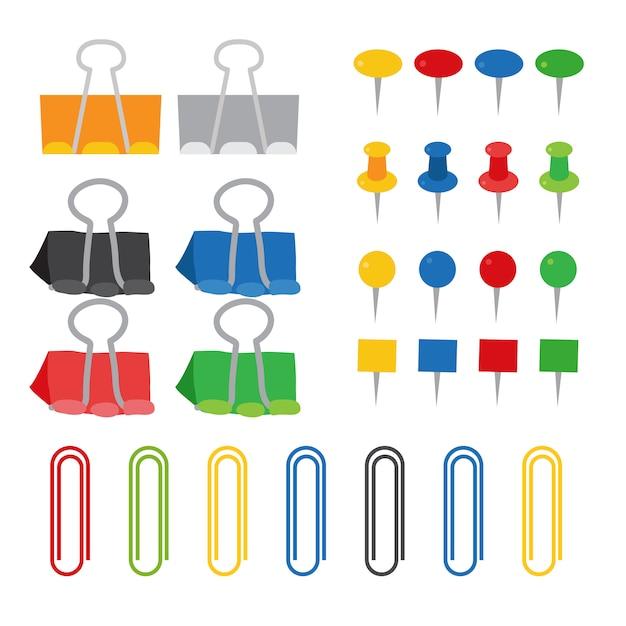 Conception de collection de vecteur paperclip Vecteur Premium