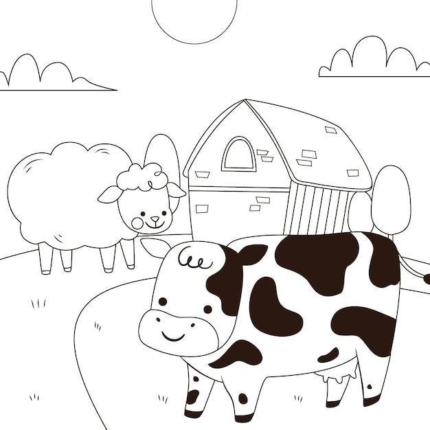 Conception De Coloriage Mignon Avec Vache Vecteur Premium