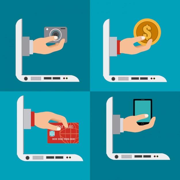 Conception de commerce électronique Vecteur Premium