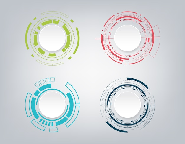 Conception de communication de technologie abstraite. Vecteur Premium