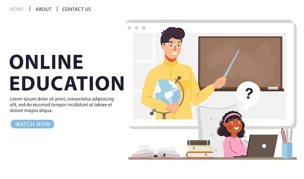 Conception De Concept D'éducation En Ligne. Vecteur Premium