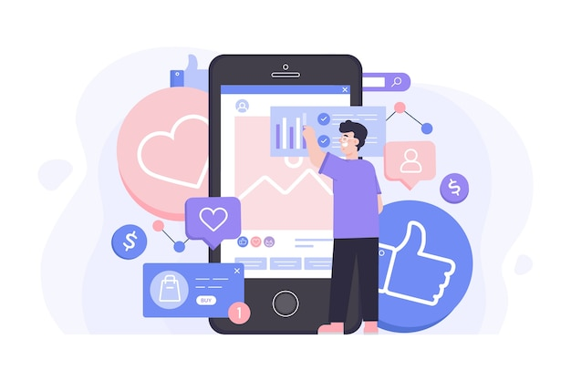 Conception De Concept De Marketing Des Médias Sociaux Vecteur gratuit