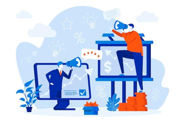 Conception De Concept Web Marketing Sortant Avec Illustration De Personnages De Personnes Vecteur Premium