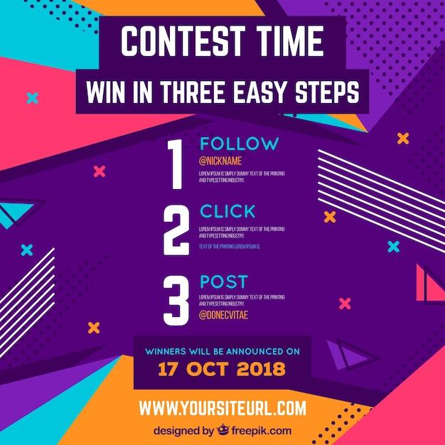 Conception de concours de médias sociaux Vecteur gratuit