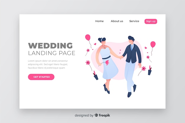 Conception de couple page de destination de mariage Vecteur gratuit