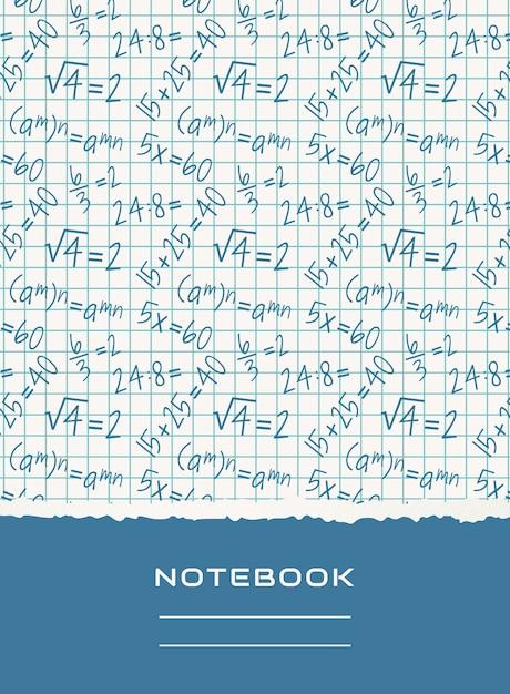 Conception de la couverture de cahier. fond mathématique de vecteur. Vecteur Premium