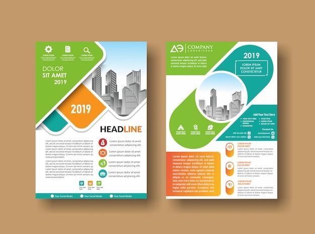 Conception de la couverture du dépliant city fond business book Vecteur Premium