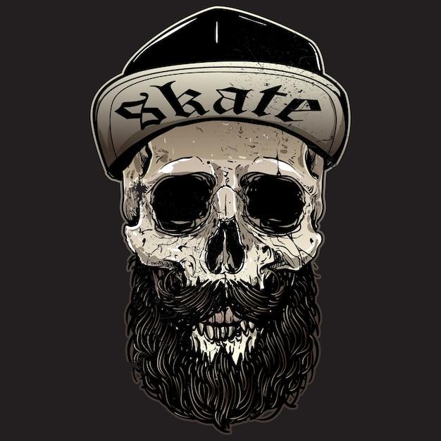 Conception de crâne de patineurs Vecteur Premium