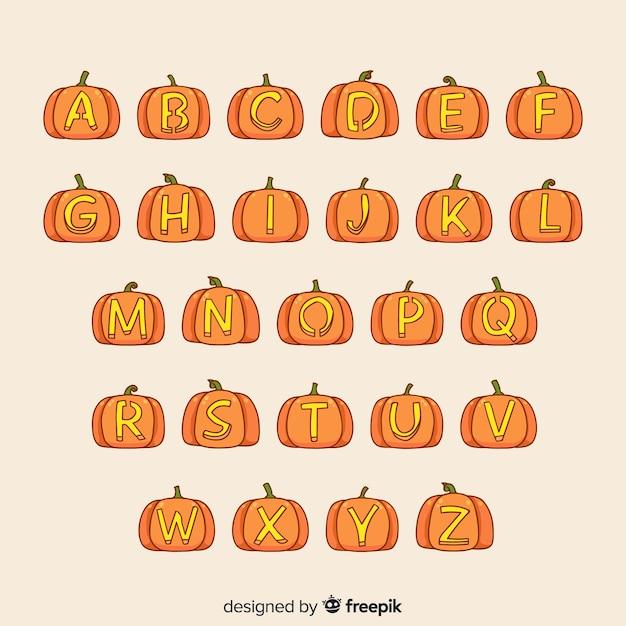Conception Créative De L'alphabet D'halloween Vecteur gratuit