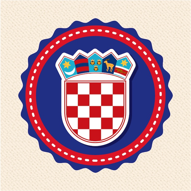Conception de la croatie au cours de l'illustration vectorielle sur fond beige Vecteur Premium