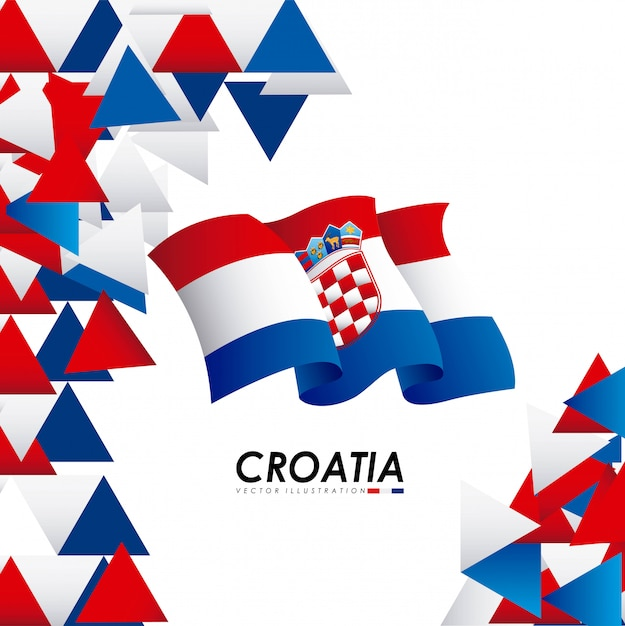 Conception de la croatie sur l'illustration vectorielle fond blanc Vecteur Premium