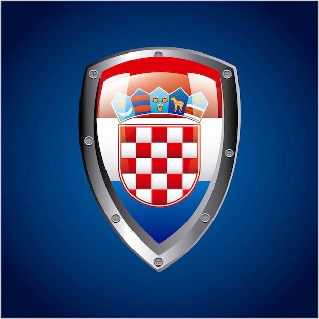 Conception de la croatie sur l'illustration vectorielle fond bleu Vecteur Premium