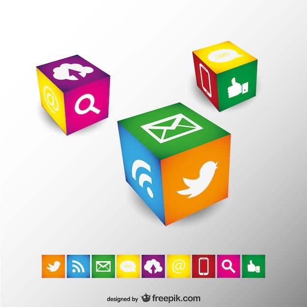 Conception Des Cubes De Médias Sociaux Vecteur gratuit