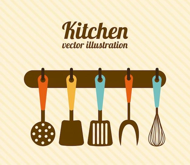 Conception de la cuisine au cours de l'illustration vectorielle sur fond beige Vecteur Premium