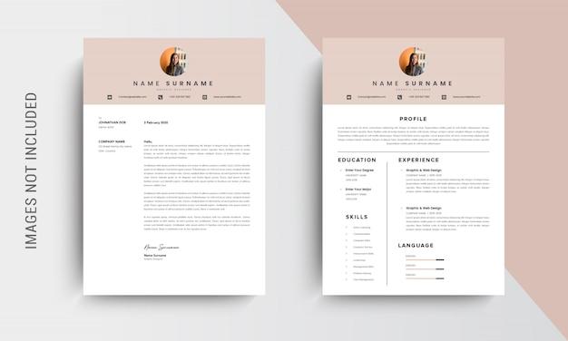 Conception De Cv Professionnel Et Modèle De Papier à En-tête, Lettre De Motivation, Demandes D'emploi De Modèle Vecteur Premium