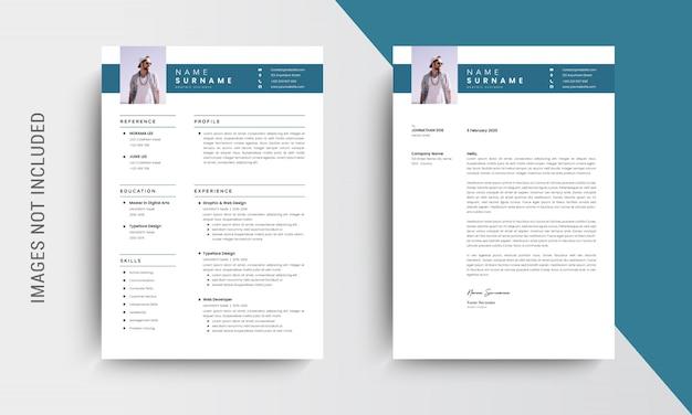 Conception De Cv Professionnel Et Modèle De Papier à En-tête, Lettre De Motivation, Modèle De Demande D'emploi, Bleu Vecteur Premium