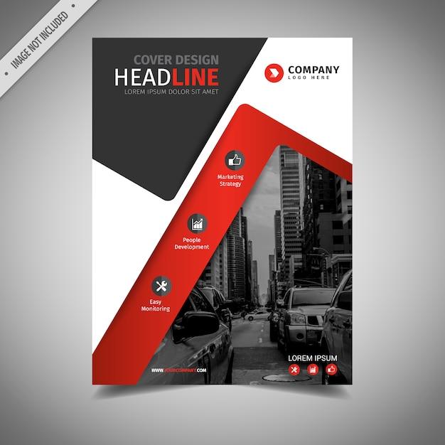 Conception de brochure commerciale noir et rouge Vecteur gratuit