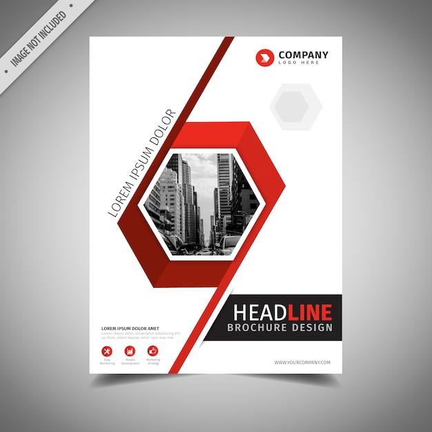Conception de brochure commerciale rouge et blanche Vecteur gratuit