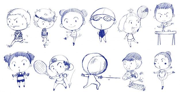 Conception de doodle bleu de personnes jouant avec les différents sports Vecteur gratuit