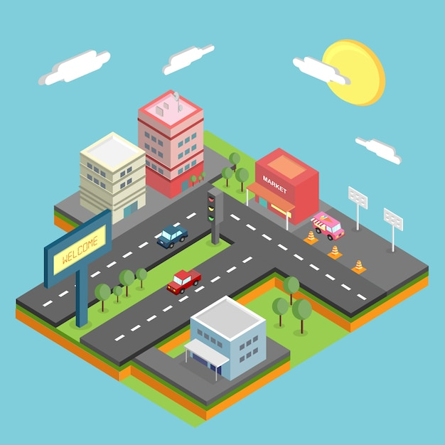 Conception de la ville isométrique Vecteur gratuit