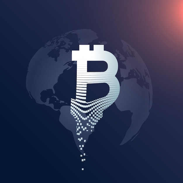 conception de symbole créatif bitcoin numérique avec toile de fond de carte du monde Vecteur gratuit