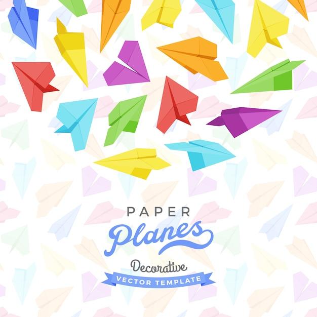 Conception de décoration de vecteur faite d'avions en papier Vecteur Premium