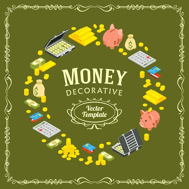 Conception De Décoration De Vecteur Faite D'objets Liés à La Finance Vecteur Premium