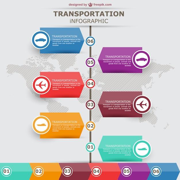 Conception des étiquettes vecteur de transport de infographiques Vecteur gratuit