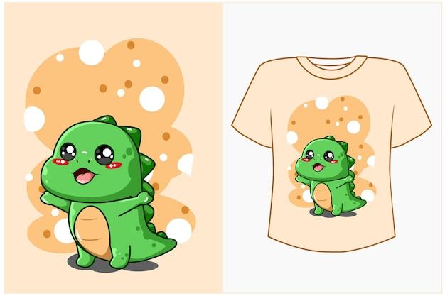 Conception De Dessin Animé Mignon Dinosaure Pour Tshirt Vecteur Premium