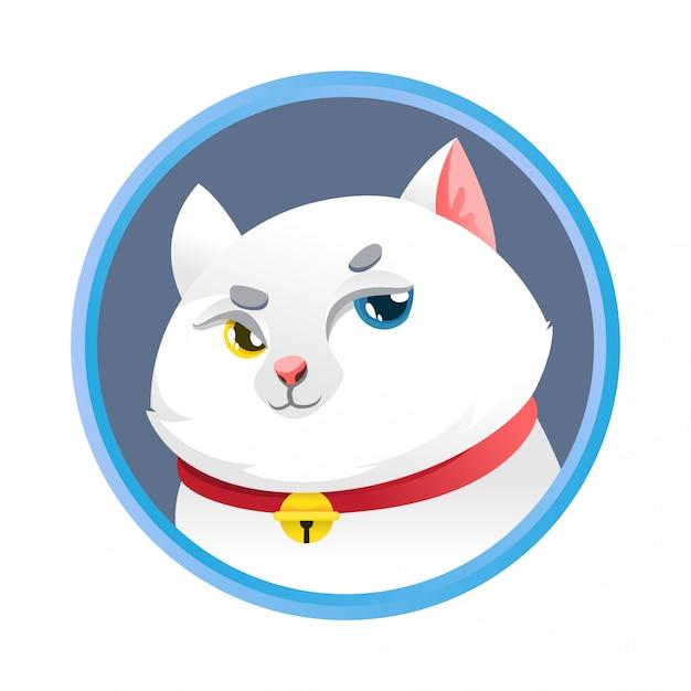 Conception de dessin animé simple chat blanc mignon Vecteur Premium