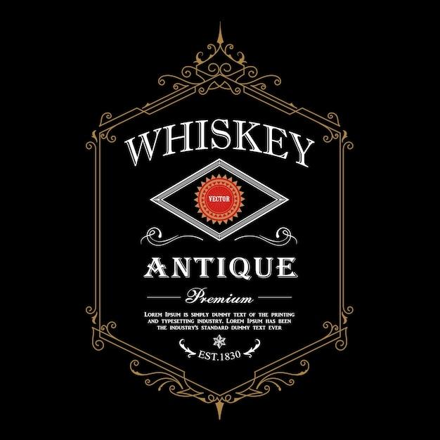 Conception Détaillée D'étiquettes De Whisky Premium Vecteur Premium