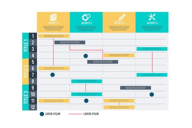 Conception De Diagramme De Gantt Vecteur gratuit