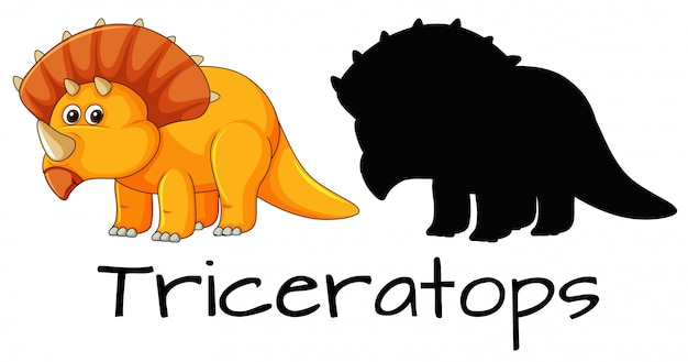 Conception d'un dinosaure tricératops Vecteur gratuit