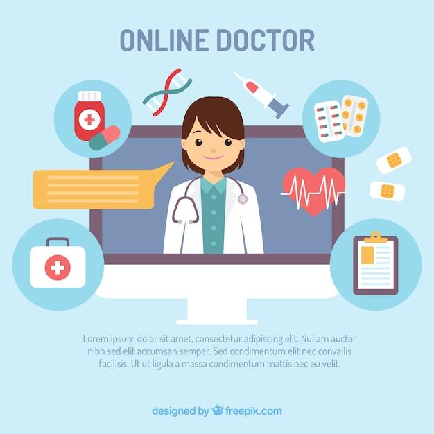 Conception de docteur en ligne créative Vecteur gratuit
