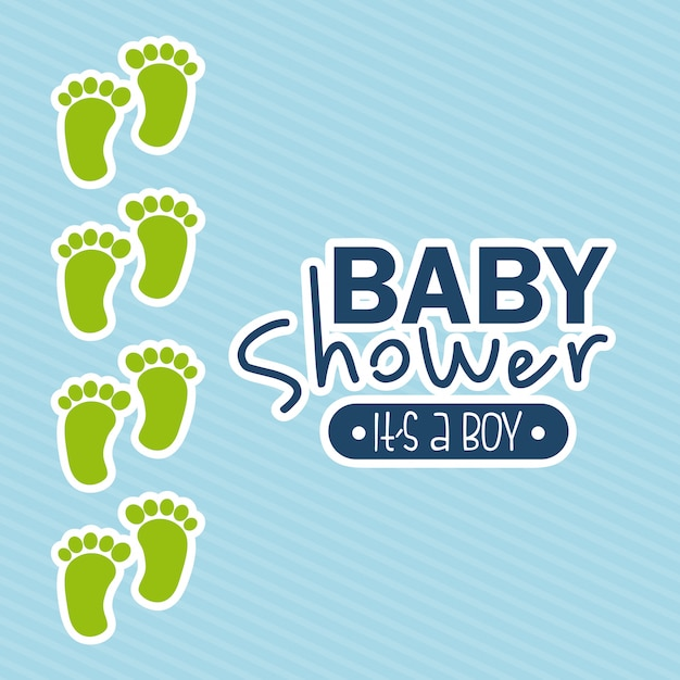 Conception de douche de bébé au cours de l'illustration vectorielle fond bleu Vecteur Premium