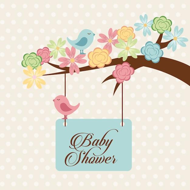 Conception de douche de bébé, illustration vectorielle eps10 graphique Vecteur Premium