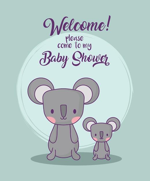 Conception de douche de bébé avec des koalas mignons Vecteur Premium