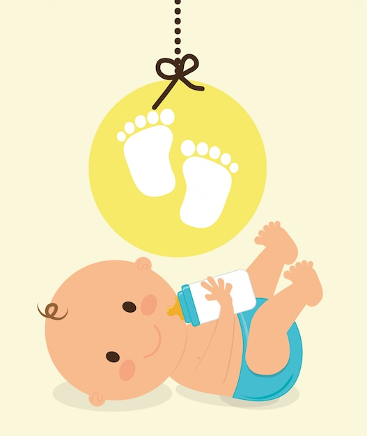 Conception de douche de bébé Vecteur Premium