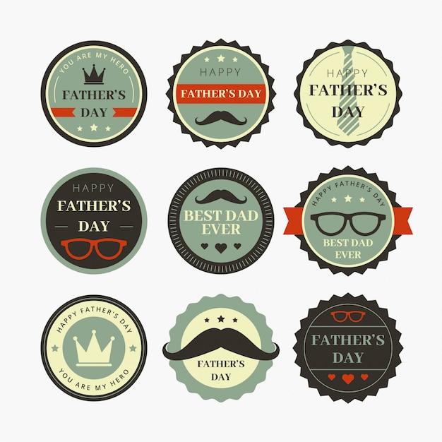 Conception du badge de la journée des pères Vecteur Premium