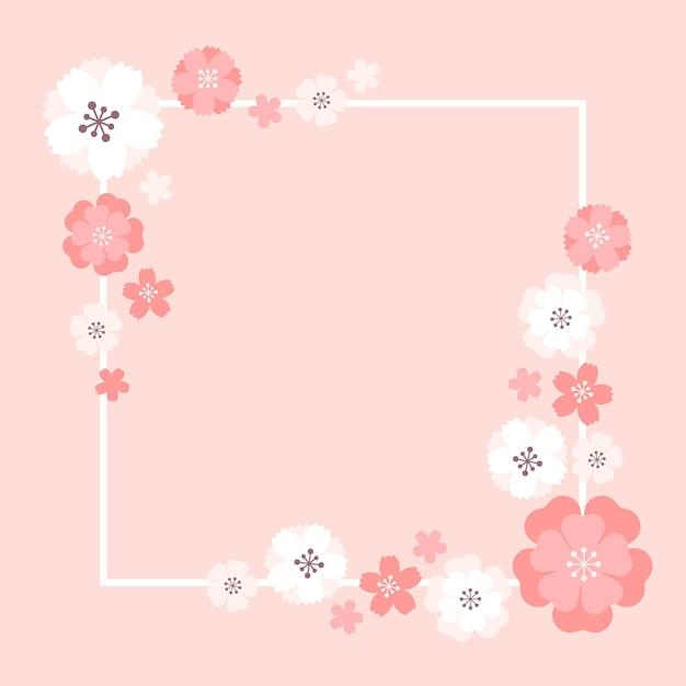 Conception Du Cadre Sakura Vecteur Premium