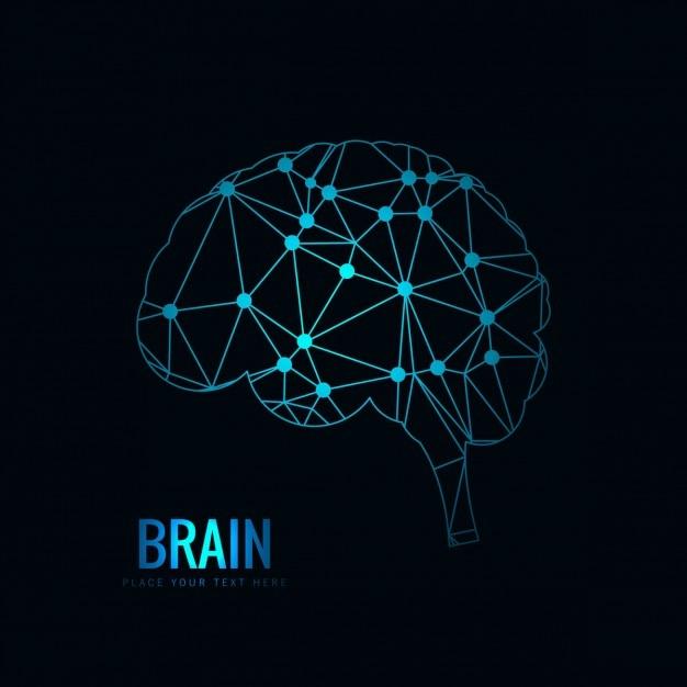 La conception du cerveau polygonale Vecteur gratuit