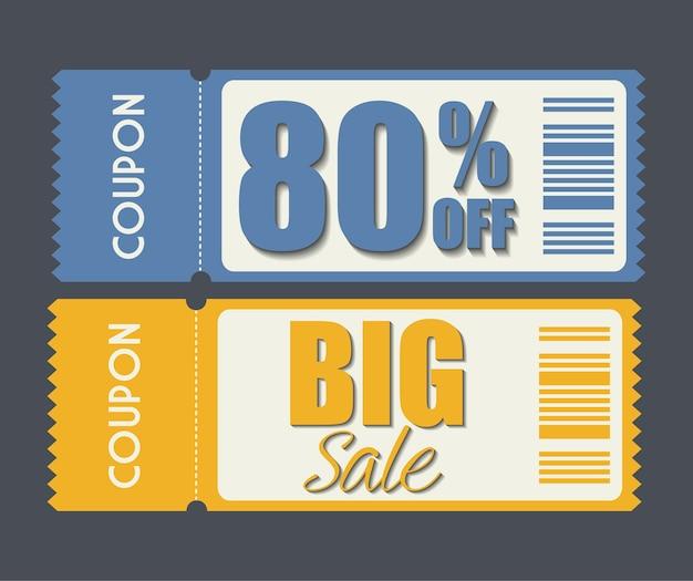 Conception du coupon icône de vente. concept commercial Vecteur Premium