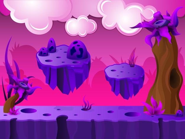 Conception Du Jeu Purple Crater Land Vecteur gratuit