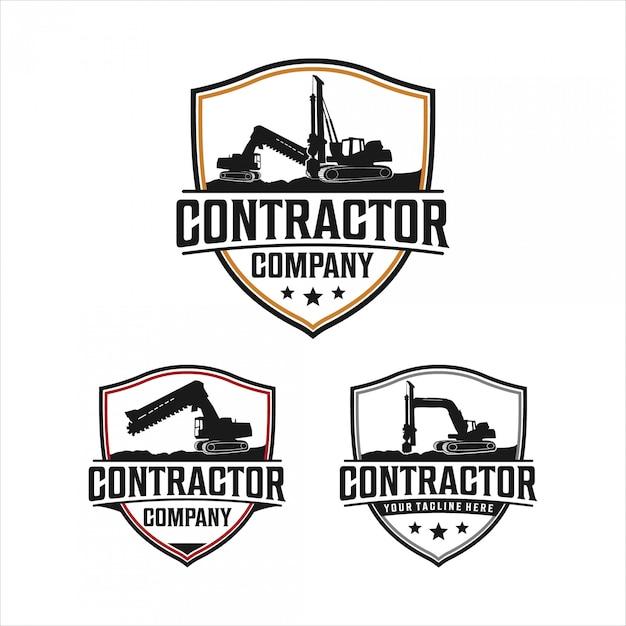 Conception du logo excavatrice et trépan Vecteur Premium