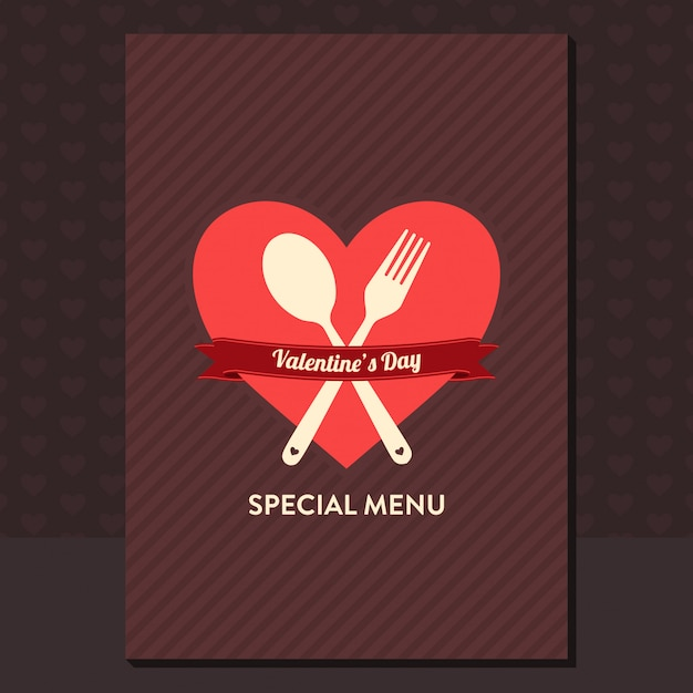 Conception du menu de la saint-valentin Vecteur Premium