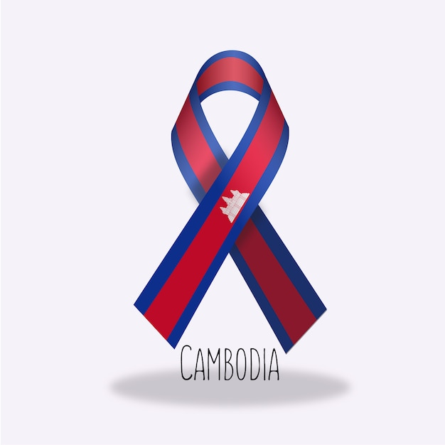 Conception Du Ruban Du Drapeau Du Cambodge Vecteur gratuit
