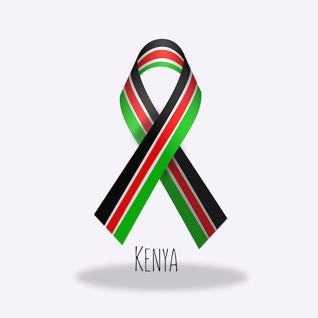 Conception du ruban du drapeau du kenya Vecteur gratuit
